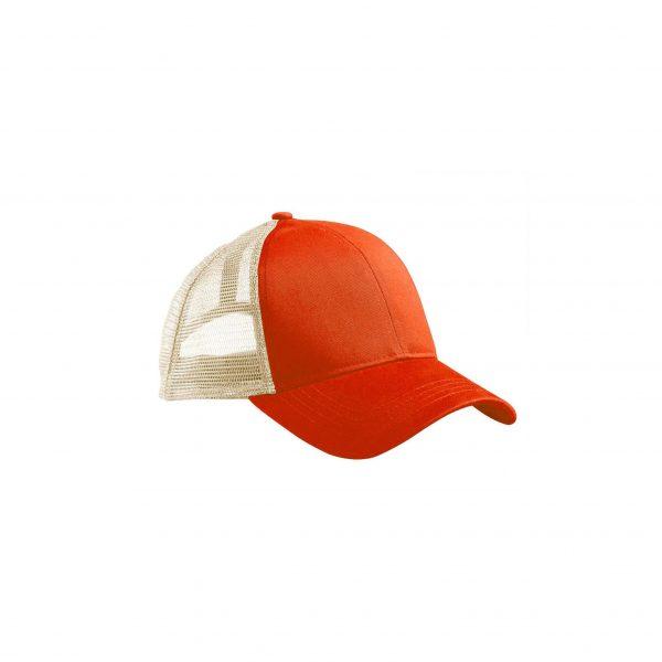 Eco-Friendly Trucker Hat Orange Poppy/Oyster