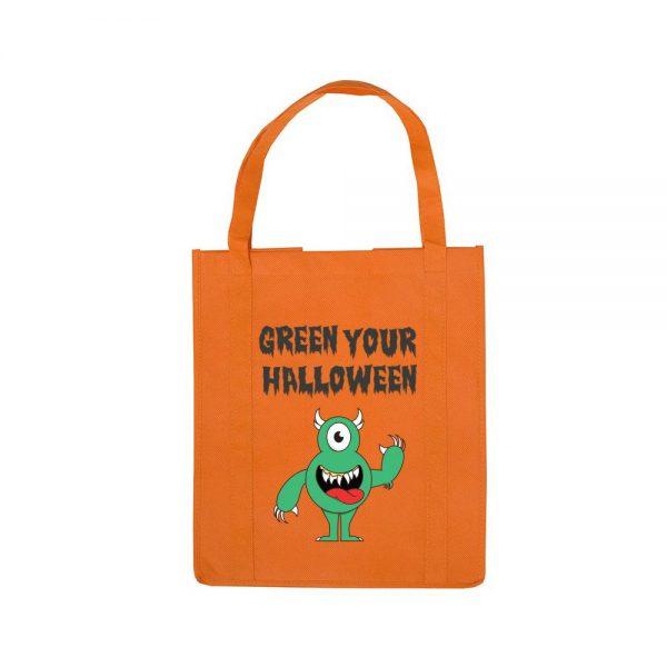 Personalized Halloween Shopping Bag Orange Monster